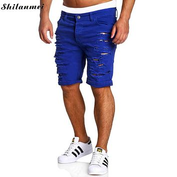 Mens Capri Jeans Men Homme Skinny Short Men Jeans Ripped Jeans for Men 2017 Erkek Kapri Pantolon Korte Capri Heren Spijkerbroek
