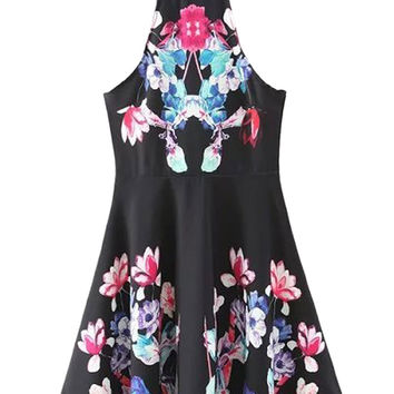 Black Halter Floral Cut Away Spaghetti Strap Dress