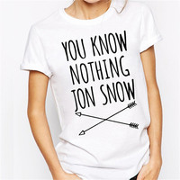 You Know Nothing Game Of Thrones T Shirt Cotton O-neck 2016 Summer T-shirts For Women Funny Casual White Black Tops Tee