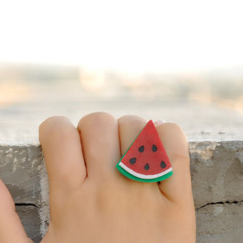 Watermelon Ring,Kawaii Jewelry,Lasercut Jewelry,Gifts Under 25