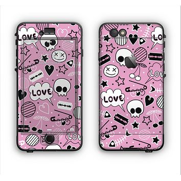 The Pink & Black Love Skulls Pattern V3 Apple iPhone 6 LifeProof Nuud Case Skin Set