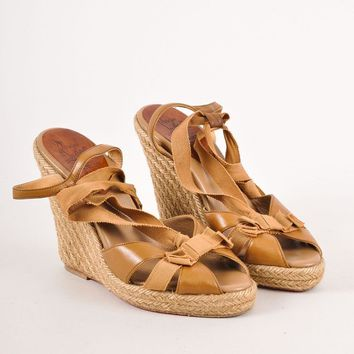 KUYOU Brown Christian Louboutin Strappy Leather Ribbon Wedge Espadrille Sandals