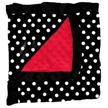 Black Polka Dot Red Minky Blanket