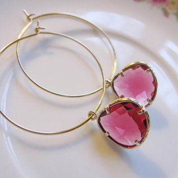 Honeysuckle Pink Earrings On Gold Hoops - Bridesmaid- Mothers Day