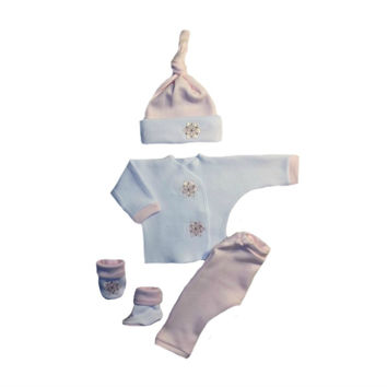 Baby Girls' Pink Snowflake 4 Piece Clothing Outfit