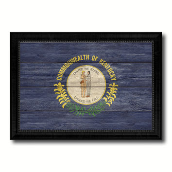 Kentucky State Flag Texture Canvas Print with Black Picture Frame Home Decor Man Cave Wall Art Collectible Decoration Artwork Gifts