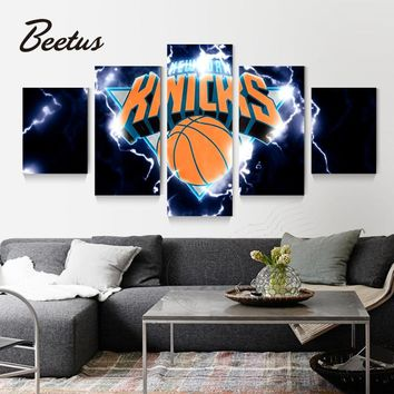 5 panel Wall Art Sport Logo Poster New York Knicks Basketball Game Home Decoraction