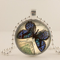 Blue stamp Butterfly glass and metal Pendant necklace Jewelry.