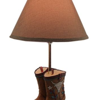 Resin Table Lamps Rustic Southwest Cowboy Boots Desk Lamp With Burlap Shade 12 X 18.5 X 12 Inches Brown Model # 15079
