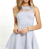 Sheer Determination Blue Grey Mesh Skater Dress