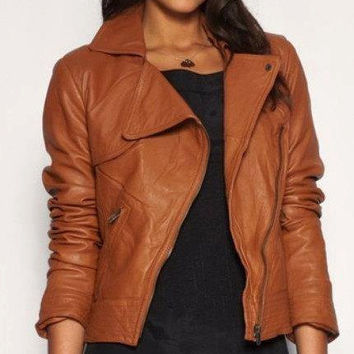 Handmade women brown leather Jacket, women brown  biker leather jacket, biker jacket