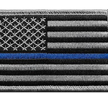 US Flag Thin Blue Line Velcro Patch for Police and Law Enforcement