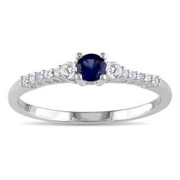 Lab-Created Blue and White Sapphire Promise Ring in Sterling Silver with Diamond Accents