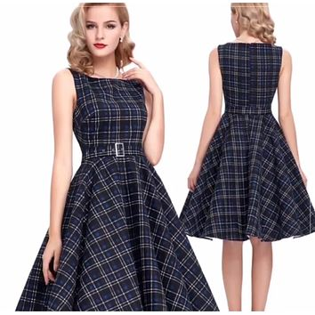 Retro Inspired Cocktail Dress - Blue Plaid, Sizes Small - XLarge