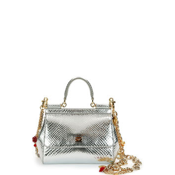 Miss Sicily Small Metallic Python Satchel Bag, Silvertone