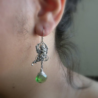 Renaissance Goddess Earrings, Sterling Silver, Bottled Green Crystal, Medieval Jewelry, Christmas Gifts - TamikaAlceeDesigns