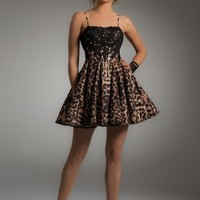 Animal Print Dress with Lace Applique