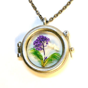 Glass Locket Nature Jewelry Miniature Terrarium Pendant Fairy Garden Purple Flowers
