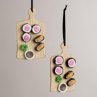 Clay Sushi Board Ornaments, Set of 2 - World Market