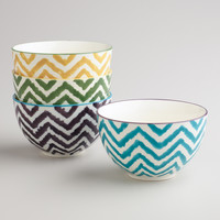 Painterly Chevron Bowls, Set of 4