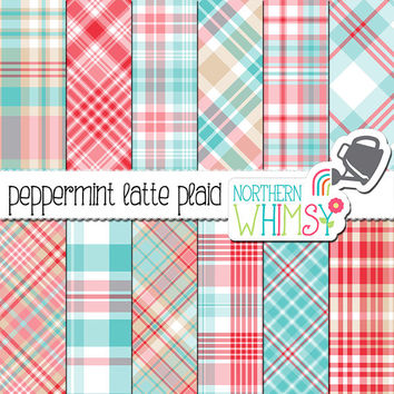"Winter Plaid Digital Paper - ""Peppermint Latte Plaid"" - red, beige, pink & light blue plaid scrapbook paper - plaid patterns -commercial use"