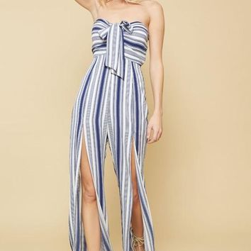 Navy Striped Tube Jumpsuit
