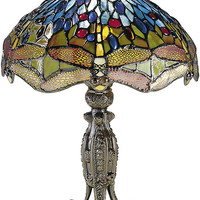 """0-023002>17""""h Dragonfly Table Lamp Antique Bronze"""