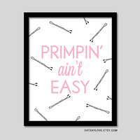 girly bathroom decor, funny wall art, funny print, funny quote, vanity art, black and white print, gift for women, bathroom typography