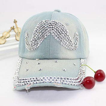 Women's fashion mustache rhinestone baseball cap Lady's casual denim hat Free shipping