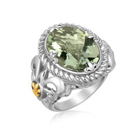 18K Yellow Gold and Sterling Silver Oval Green Amethyst Fleur De Lis Style Ring: Size 8