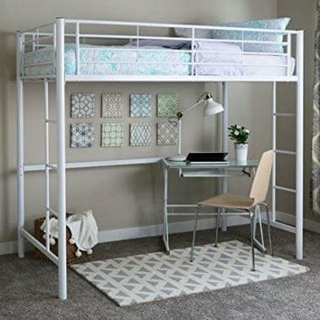 walker edison twin metal loft bed, white - Walmart.com
