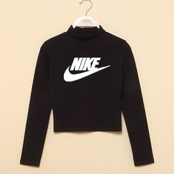 """Nike"" Fashion Casual Classic  Letter Print Round Neck T-shirt Crop Top"