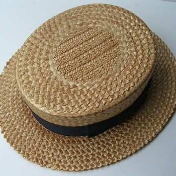 Vintage Adam Mens Summer Straw Boater Hat by marvita13 on Etsy
