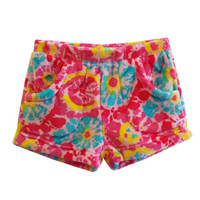 Candy Pink Super Soft Fleece Shorts Tie Dye