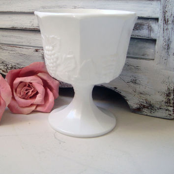 Vintage Milk Glass Compote, Grape and Vine Pedestal Vase, Shabby Chic, Cottage Chic