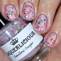 Rainbow Sugar - Pink Jelly Indie Custom Matte Glitter Nail Polish