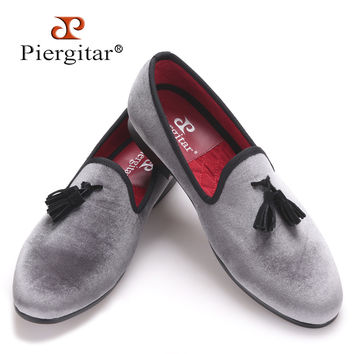 New style Handmade Loafers Gray velvet Men shoes with Black suede tassel Fashion Party dress shoes men's flats