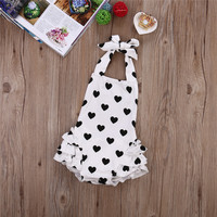 2017 New Arrival Spring Summer Baby Girl Romper Love Heart Jumpsuit Headband 2pcs Heart Outfit Set Clothes 0-24 M