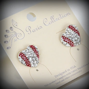 Baseball Heart Shaped Stud Earrings
