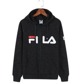 PEAPUF3 FILA Fashion Hooded Zipper Cardigan Sweatshirt Jacket Coat Sportswear