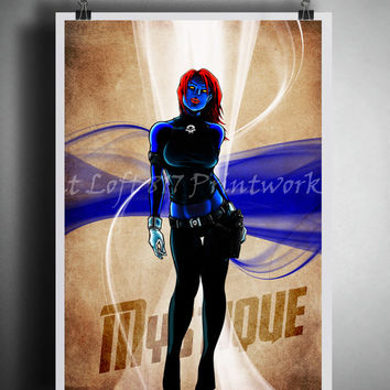 Mystique art print - Xmen art - vintage superhero art  - Sexy Super Villain - Dictionary print art