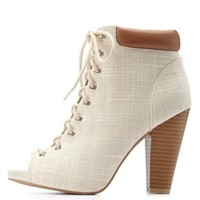 Ivory Qupid Linen Peep Toe Lace-Up Booties by Charlotte Russe