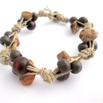 Stone Bead Wood Hemp Bracelet Beaded Boho Bracelet