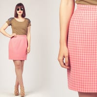 80s Gingham Mini Skirt / Pink Pencil Skirt / Guy Laroche Mini Skirt
