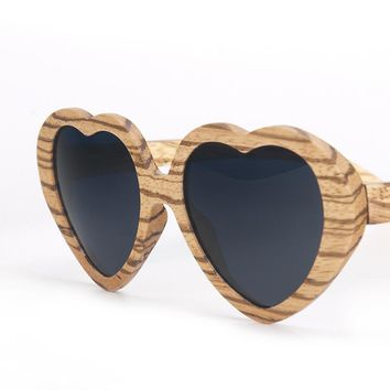 Wooden heart shaped sunglasses | 100% Authentic Bamboo