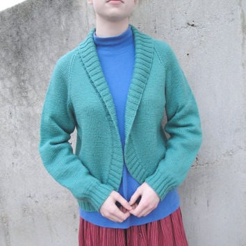 Cropped Bolero Jacket, Shawl Collar & Raglan Sleeves, Hand Knit Cardigan Sweater in Merino Wool, Sea Green