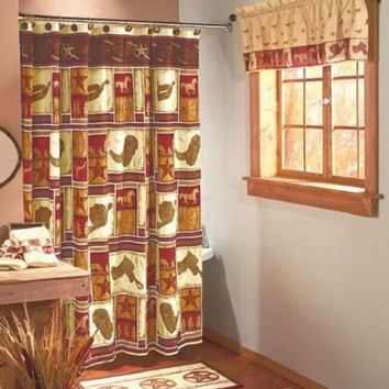 Shower Curtain Western Symbols Cowboy Boots Horses Star Badges Wild West NEW