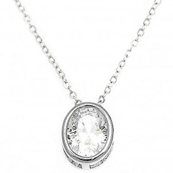 1.5 ctw Created Diamond Oval Bezel set Slider Pendant Necklace ~ Sterling Silver