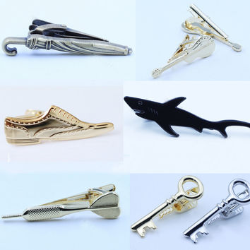 Shark Shoes Gold Silver Tie Clips for Men Unique Design 2016 New Fashion Novel Slim Tie Bar Clasp High Quality Clip for Tie