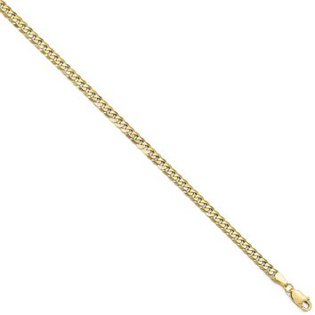 4.6mm 10k Yellow Gold Flat Beveled Curb Chain Necklace